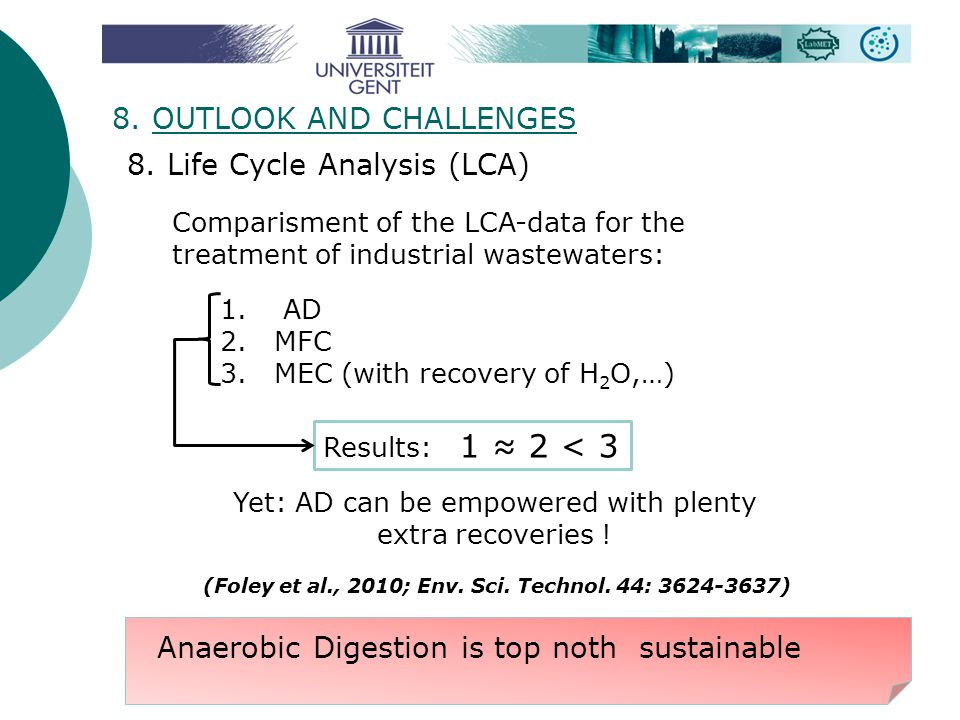8. OUTLOOK AND CHALLENGES 8. Life Cycle Analysis (LCA) Comparisment of the LCA-data for the treatment of industrial wastewaters: 1. AD 2.MFC 3.MEC (wi