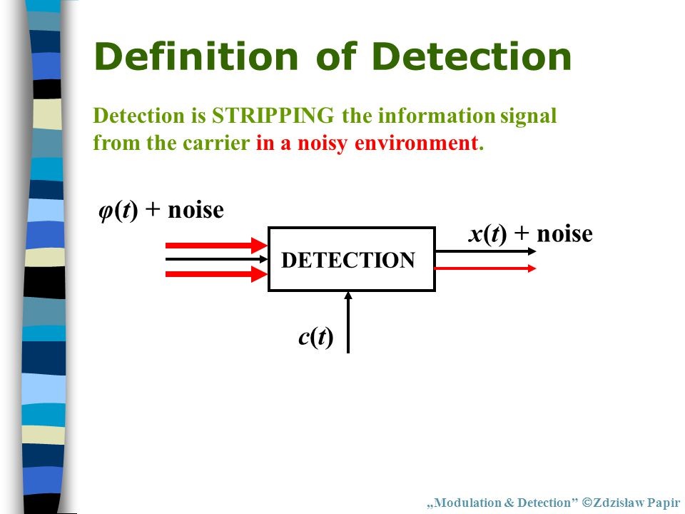 "Definition of Detection ""Modulation & Detection""  Zdzisław Papir DETECTION φ(t) + noise x(t) + noise c(t)c(t) Detection is STRIPPING the information"