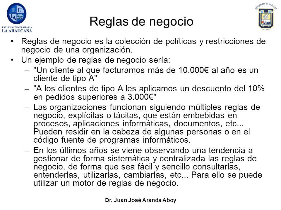 Dr. Juan José Aranda Aboy Reglas de negocio Reglas de negocio es la colección de políticas y restricciones de negocio de una organización. Un ejemplo