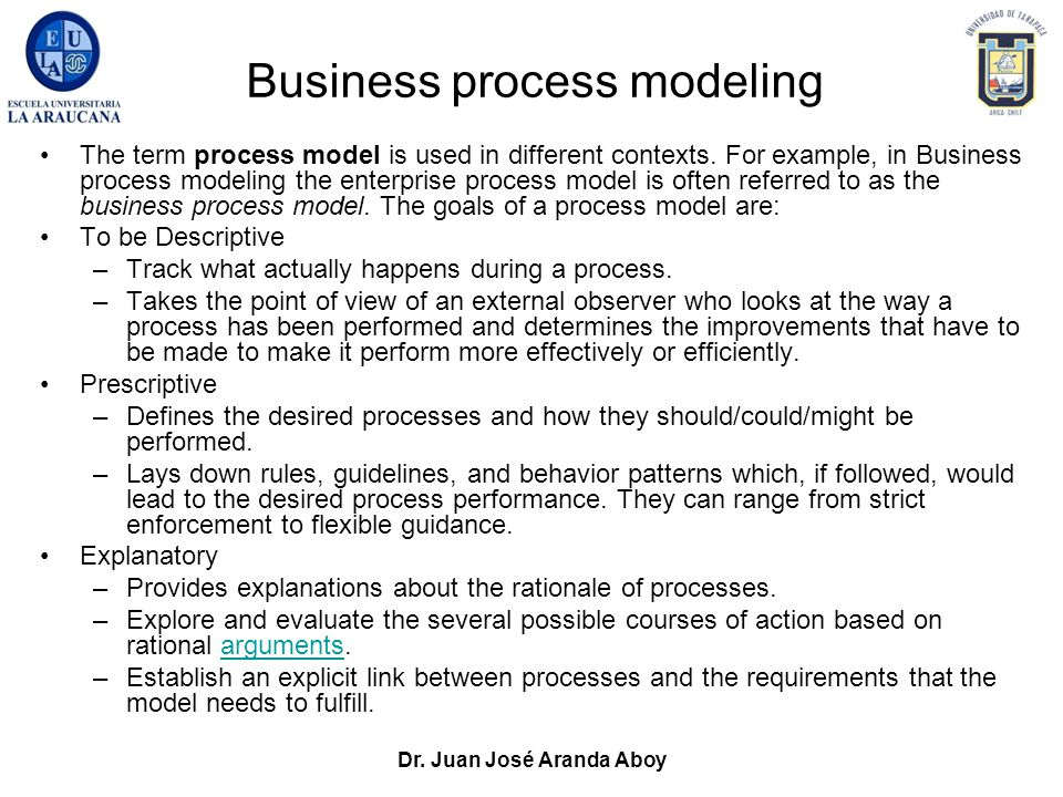 Dr. Juan José Aranda Aboy Business process modeling The term process model is used in different contexts. For example, in Business process modeling th