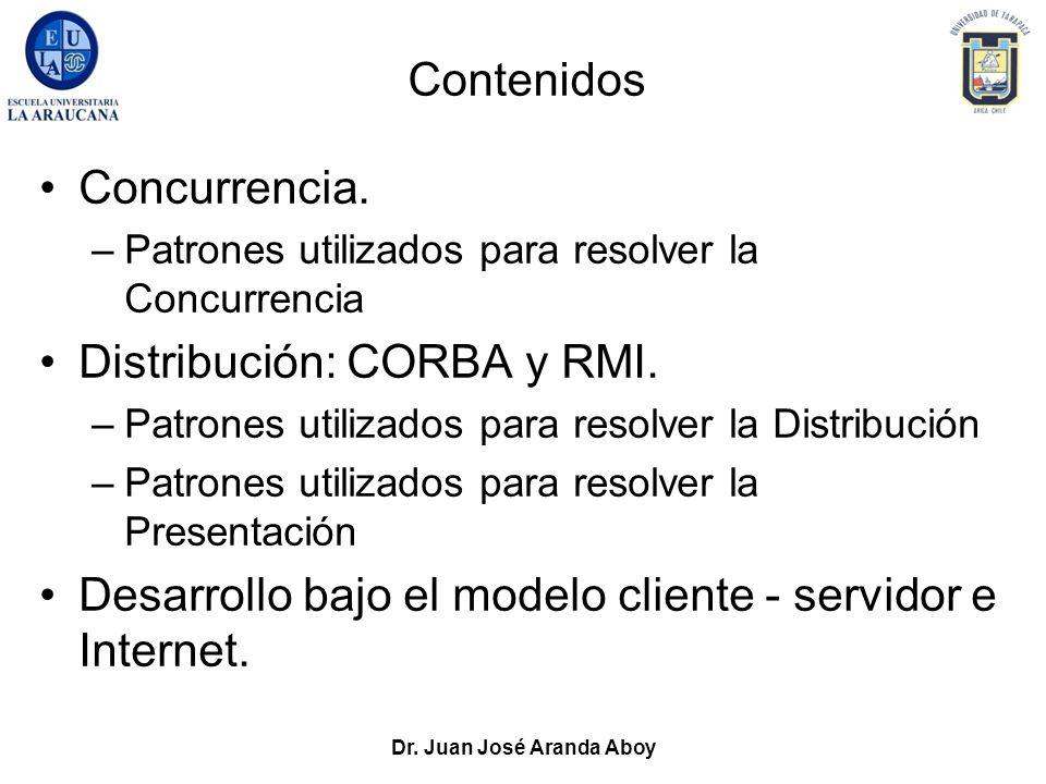 Dr. Juan José Aranda Aboy Contenidos Concurrencia. –Patrones utilizados para resolver la Concurrencia Distribución: CORBA y RMI. –Patrones utilizados