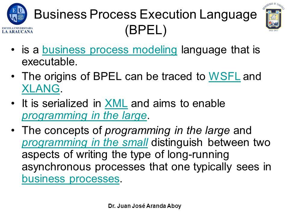 Dr. Juan José Aranda Aboy Business Process Execution Language (BPEL) is a business process modeling language that is executable.business process model