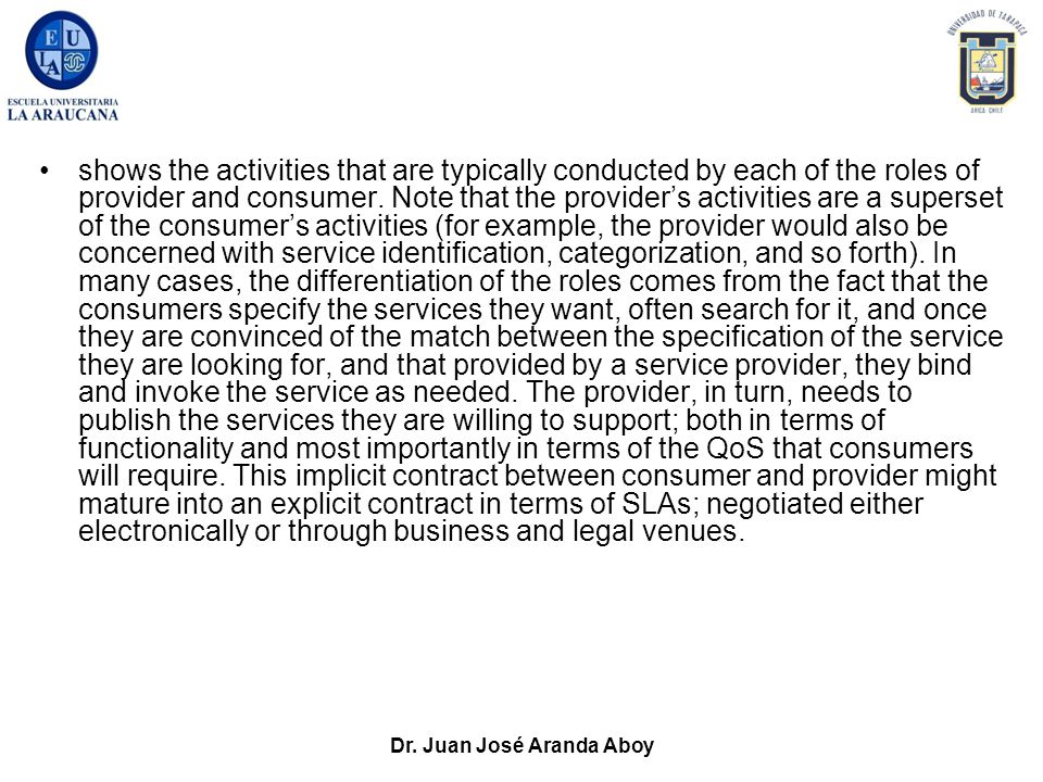 Dr. Juan José Aranda Aboy shows the activities that are typically conducted by each of the roles of provider and consumer. Note that the provider's ac