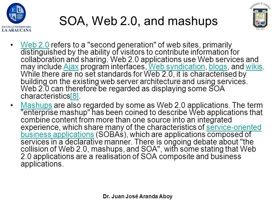 Dr. Juan José Aranda Aboy SOA, Web 2.0, and mashups Web 2.0 refers to a