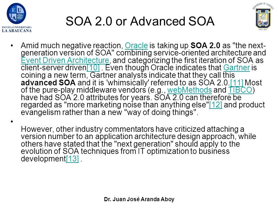 Dr. Juan José Aranda Aboy SOA 2.0 or Advanced SOA Amid much negative reaction, Oracle is taking up SOA 2.0 as