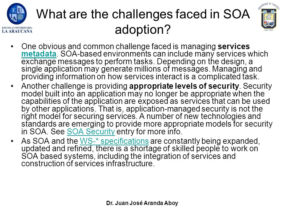 Dr. Juan José Aranda Aboy What are the challenges faced in SOA adoption? One obvious and common challenge faced is managing services metadata. SOA-bas