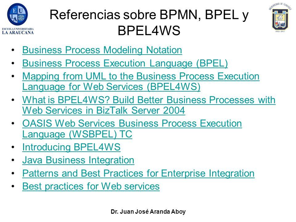 Dr. Juan José Aranda Aboy Referencias sobre BPMN, BPEL y BPEL4WS Business Process Modeling Notation Business Process Execution Language (BPEL) Mapping