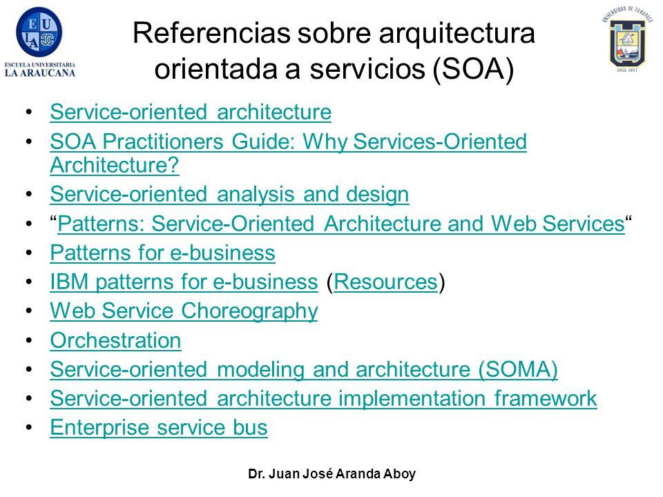 Dr. Juan José Aranda Aboy Referencias sobre arquitectura orientada a servicios (SOA) Service-oriented architecture SOA Practitioners Guide: Why Servic