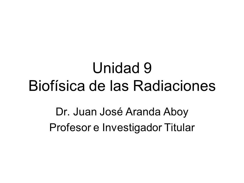 Unidad 9 Biofísica de las Radiaciones Dr. Juan José Aranda Aboy Profesor e Investigador Titular