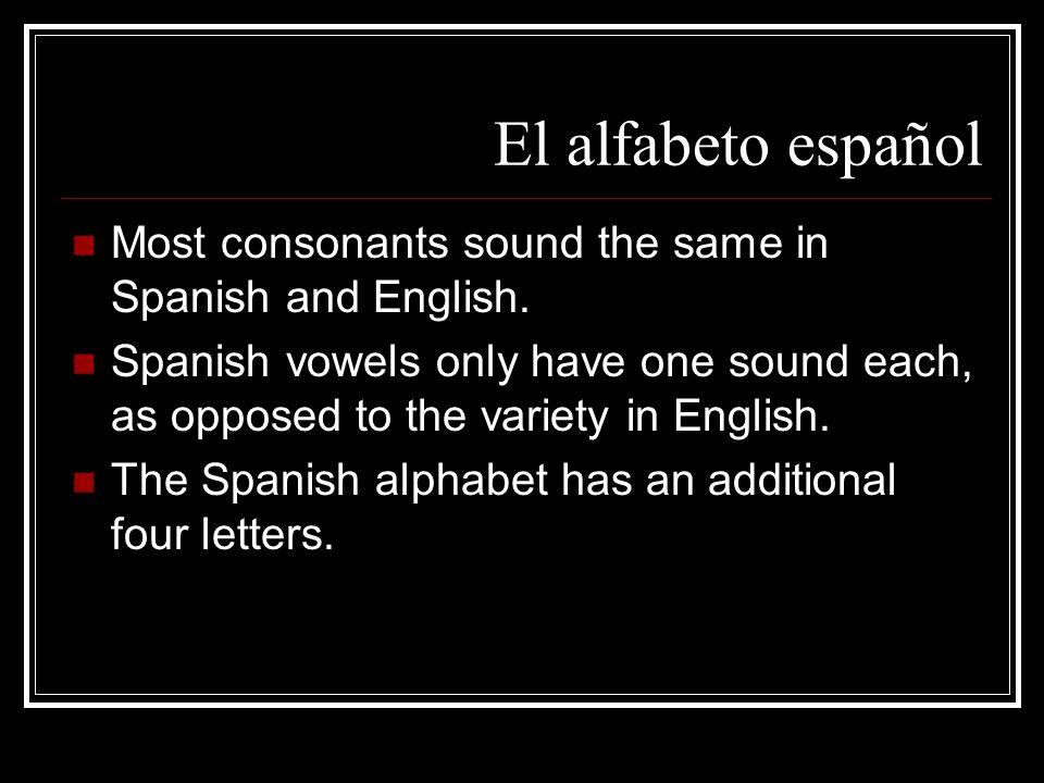 El alfabeto español Most consonants sound the same in Spanish and English.