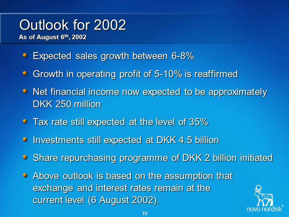 19 Outlook for 2002 As of August 6 th, 2002 Expected sales growth between 6-8% Growth in operating profit of 5-10% is reaffirmed Net financial income