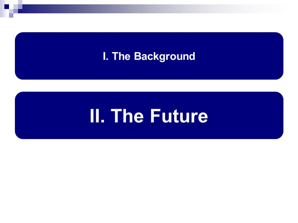 I. The Background II. The Future