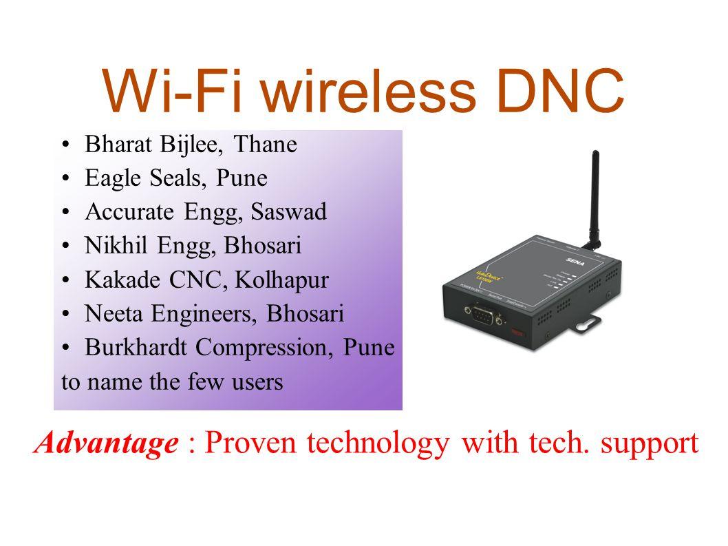 Wi-Fi wireless DNC Bharat Bijlee, Thane Eagle Seals, Pune Accurate Engg, Saswad Nikhil Engg, Bhosari Kakade CNC, Kolhapur Neeta Engineers, Bhosari Bur