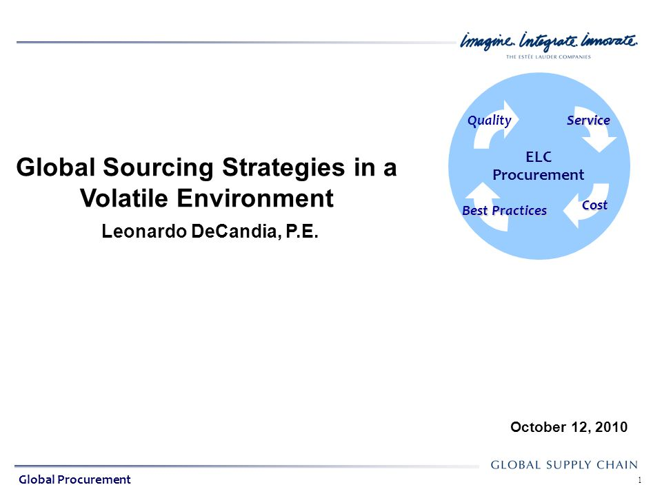 Global Indirect Procurement ELC Procurement 2 Presentation Agenda Quality About the Estee Lauder Companies About the Presenter Sourcing Practices at ELC Current & Evolving Challenges Tactics & Strategies Q & A Service Cost Best Practices Global Procurement