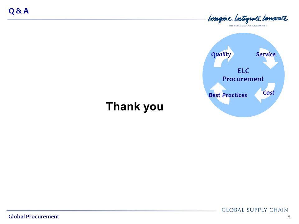 Global Indirect Procurement ELC Procurement 9 Q & A Quality Service Cost Best Practices Global Procurement Thank you