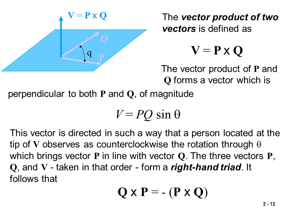 2 - 12 q V = P x Q P Q The vector product of two vectors is defined as V = P x Q The vector product of P and Q forms a vector which is perpendicular t