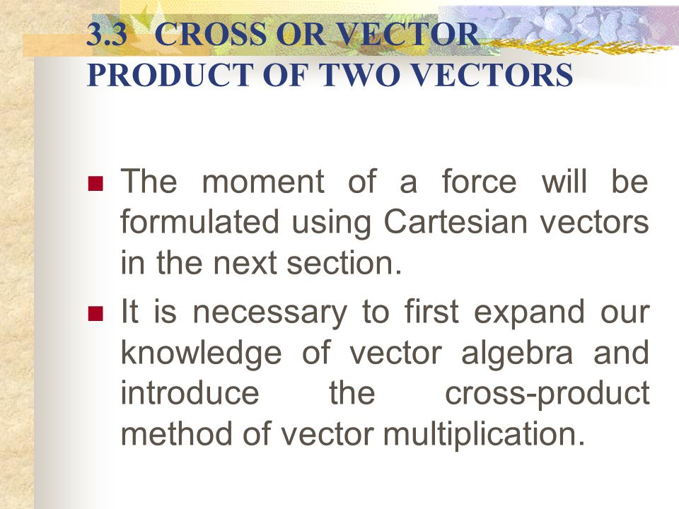 Moment of a Force About a Point Moment (Mo) of F about O is defined as the vector product of r and F: i.e.