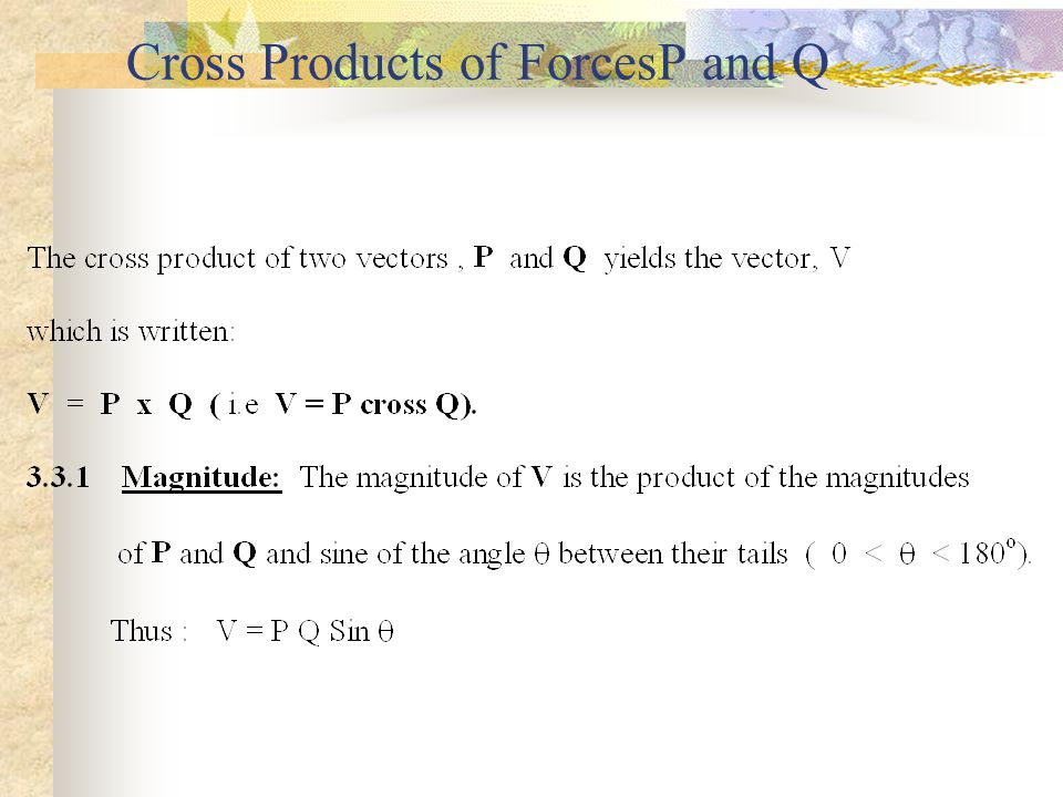 3.7SCALAR OR DOT PRODUCT OF TWO VECTORS Scalar product of two vectors, P and Q P.Q = P Q cos .....