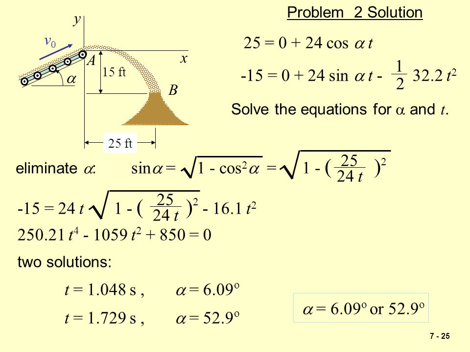 7 - 25 15 ft A 25 ft  v0v0 B x y Problem 2 Solution 25 = 0 + 24 cos  t -15 = 0 + 24 sin  t - 32.2 t 2 1 2 Solve the equations for  and t. eliminat