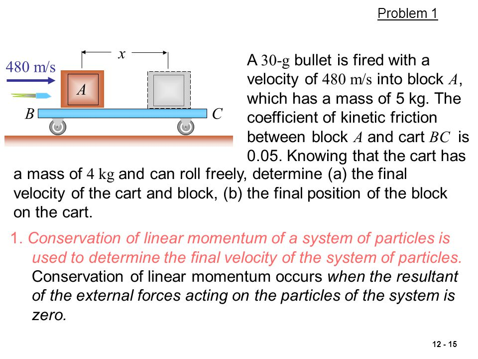 12 - 15 1. Conservation of linear momentum of a system of particles is used to determine the final velocity of the system of particles. Conservation o