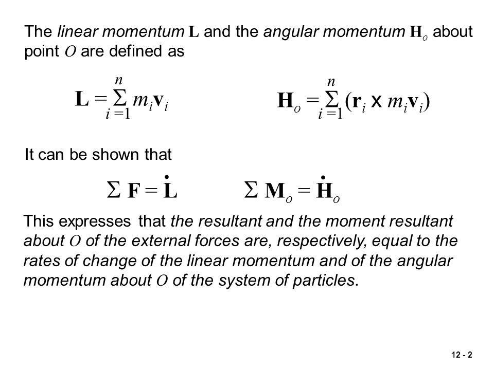 12 - 23 Conservation of linear momentum of a system of particles is used to determine the final velocity of the system of particles.