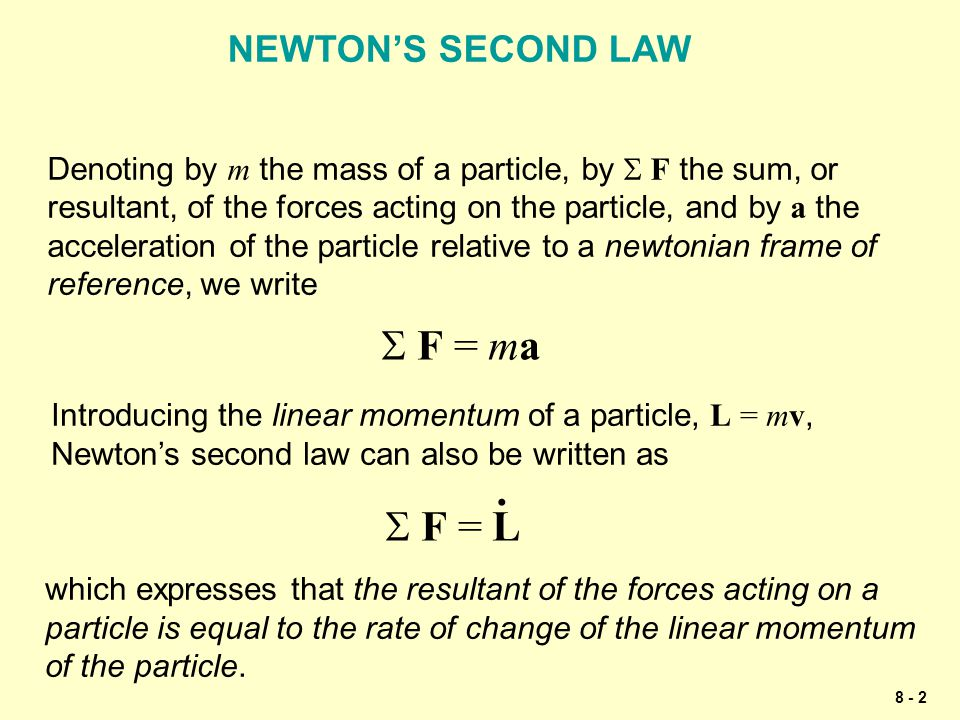 8 - 2 NEWTON'S SECOND LAW Denoting by m the mass of a particle, by  F the sum, or resultant, of the forces acting on the particle, and by a the acce