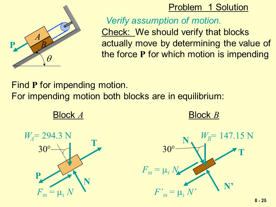 8 - 25 Problem 1 Solution P  A B Check: We should verify that blocks actually move by determining the value of the force P for which motion is impend