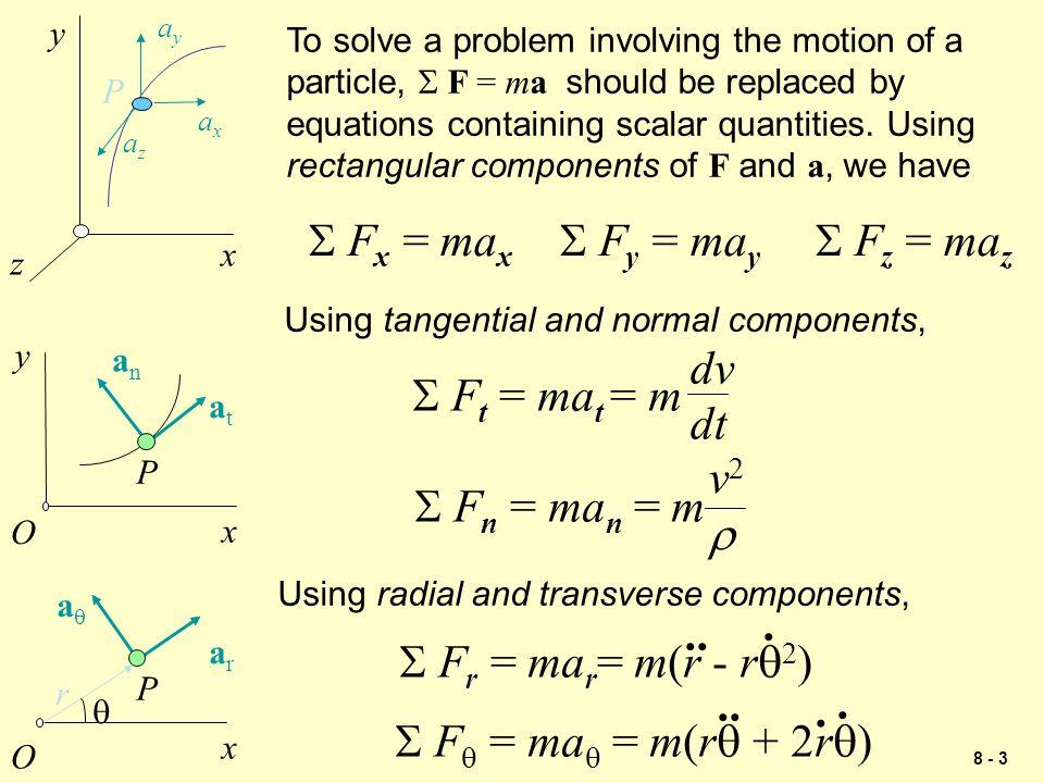 8 - 24 Problem 1 Solution Block B : m B a = 15 a +  F y = 0: N' - N - (147.15) cos 30 o = 0 N' = 382.31 N F' k =  k N' = 0.10 (382.31) = 38.23 N +  F x = ma: T - F k - F' k - (147.15) sin 30 o = 15 a T - 137.29 = 15 a (2) Solving equations (1) and (2) gives: T = 215 N a = 5.21 m/s 2 W B = 147.15 N T N N' F k =  k N F' k =  k N' = 30 o