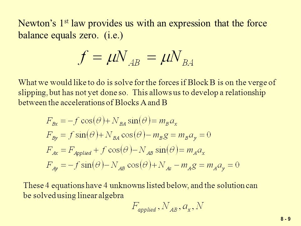 8 - 20 Problem 1 Block A has a mass of 30 kg and block B has a mass of 15 kg.