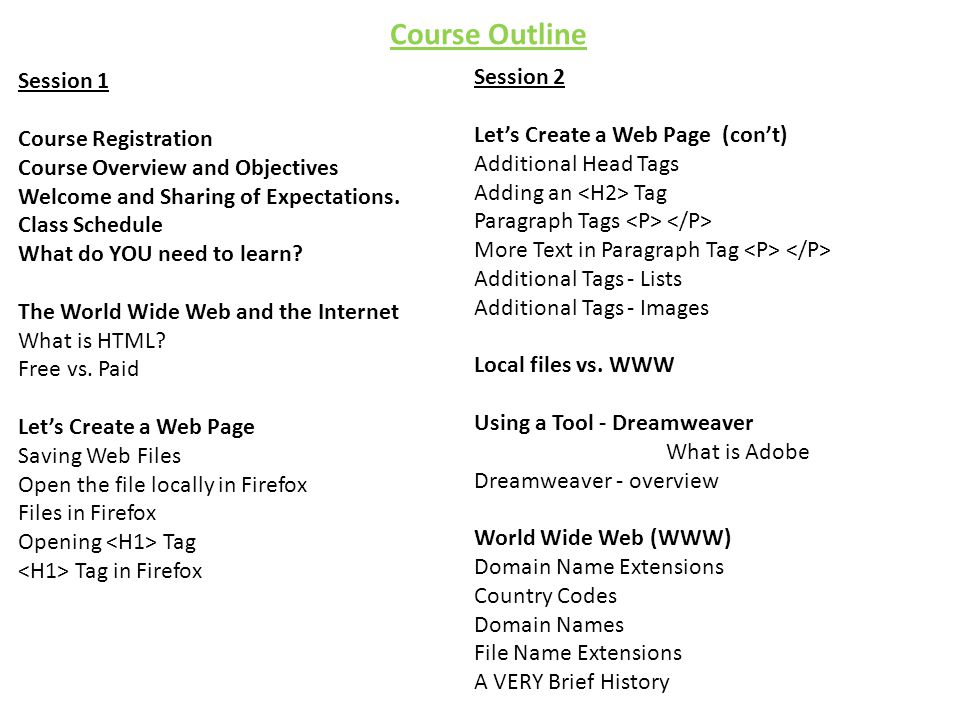 Course Outline Session 1 Course Registration Course Overview and Objectives Welcome and Sharing of Expectations.