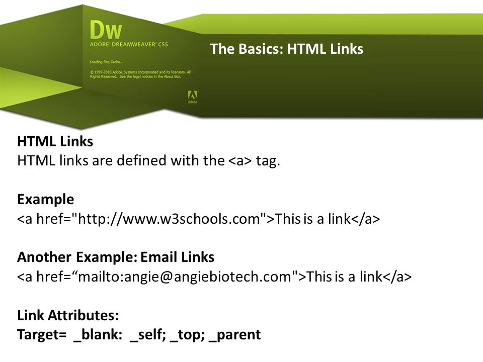 The Basics: HTML Links HTML Links HTML links are defined with the tag.
