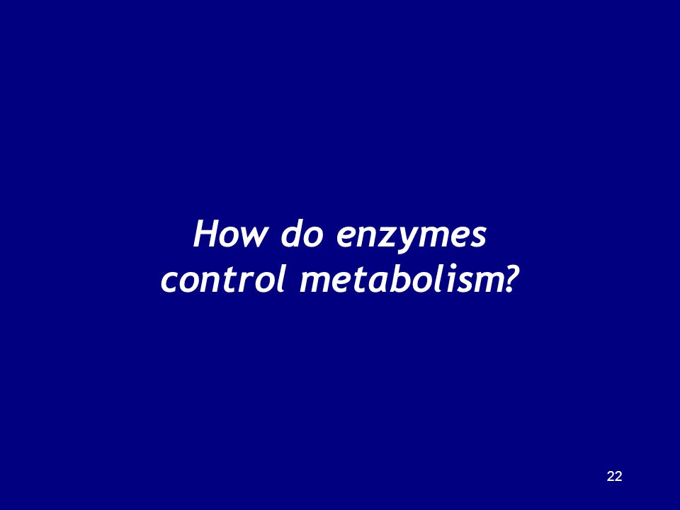 22 How do enzymes control metabolism?