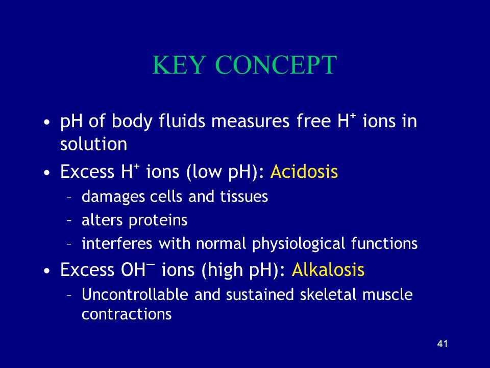 41 KEY CONCEPT pH of body fluids measures free H + ions in solution Excess H + ions (low pH): Acidosis –damages cells and tissues –alters proteins –in