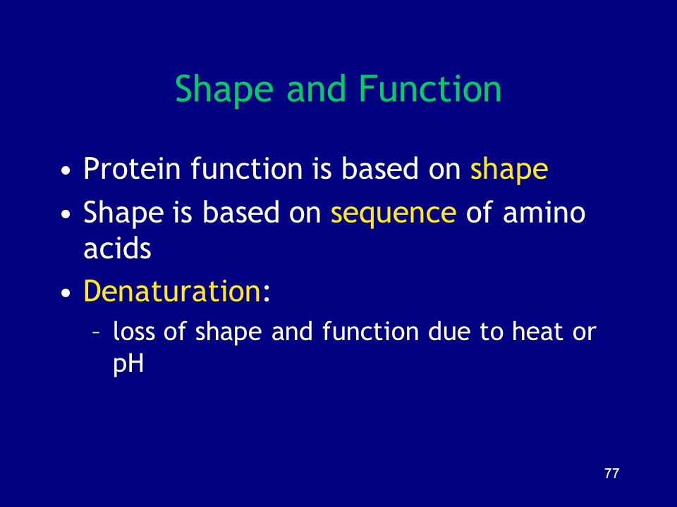 77 Shape and Function Protein function is based on shape Shape is based on sequence of amino acids Denaturation: –loss of shape and function due to he