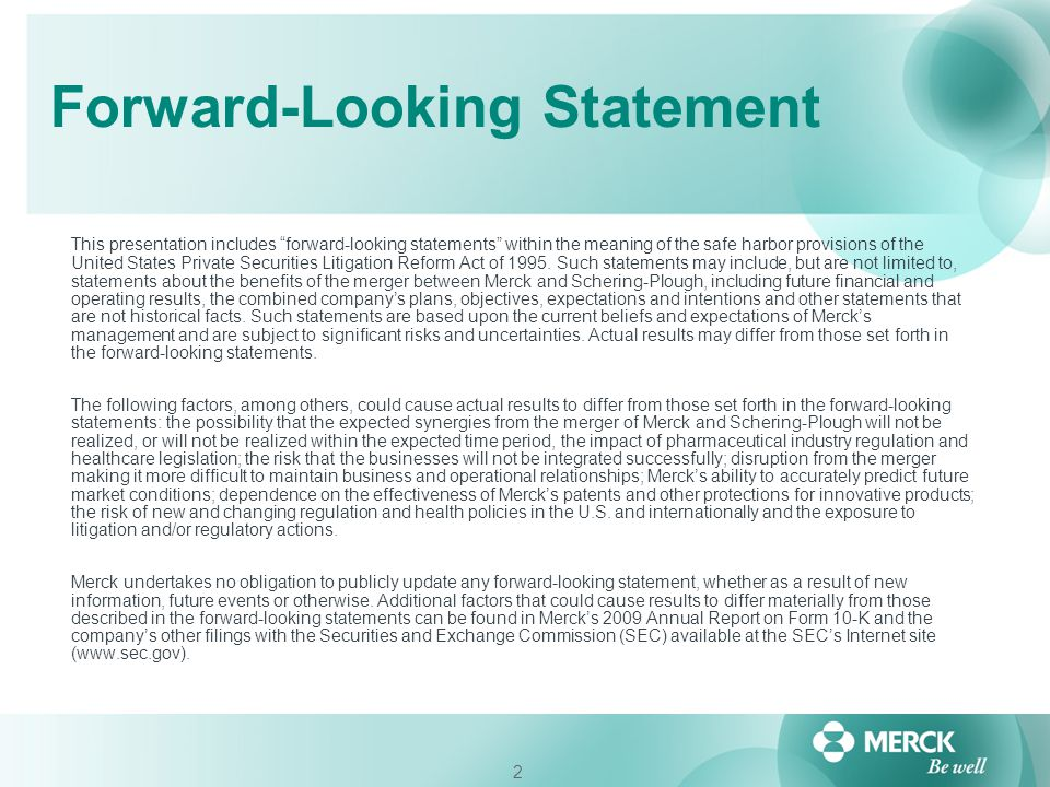"2 Forward-Looking Statement This presentation includes ""forward-looking statements"" within the meaning of the safe harbor provisions of the United Sta"
