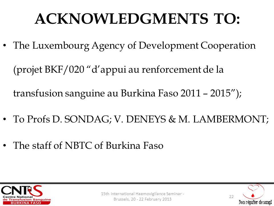 """Don régulier de sang! ACKNOWLEDGMENTS TO: The Luxembourg Agency of Development Cooperation (projet BKF/020 """"d'appui au renforcement de la transfusion"""