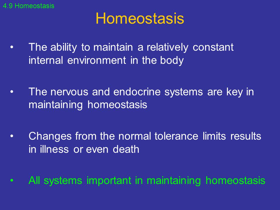 Homeostasis The ability to maintain a relatively constant internal environment in the body The nervous and endocrine systems are key in maintaining ho