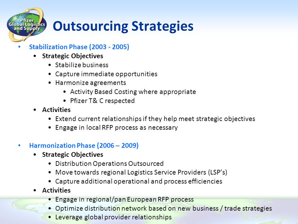 Outsourcing Strategies Stabilization Phase (2003 - 2005) Strategic Objectives Stabilize business Capture immediate opportunities Harmonize agreements