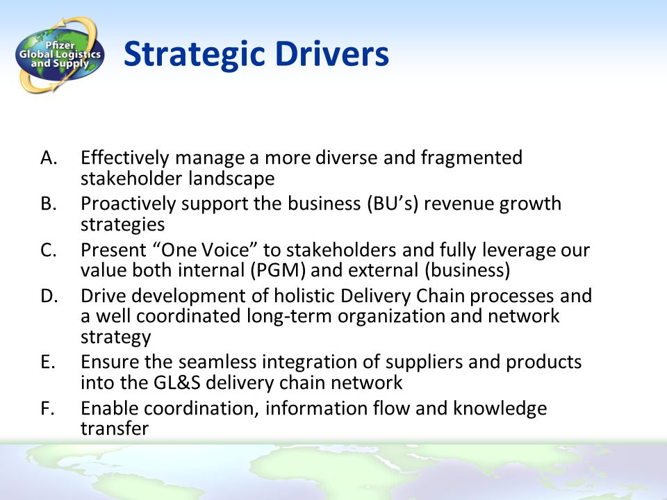 Strategic Drivers A.Effectively manage a more diverse and fragmented stakeholder landscape B.Proactively support the business (BU's) revenue growth st