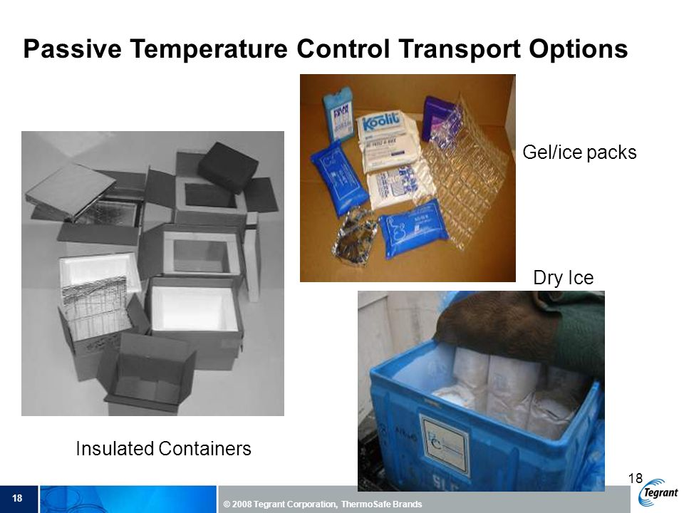 18 © 2008 Tegrant Corporation, ThermoSafe Brands 18 Passive Temperature Control Transport Options Insulated Containers Gel/ice packs Dry Ice