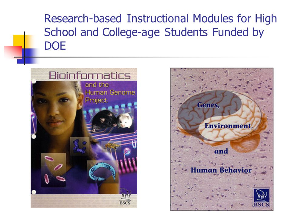 Research-based Instructional Modules for High School and College-age Students Funded by DOE