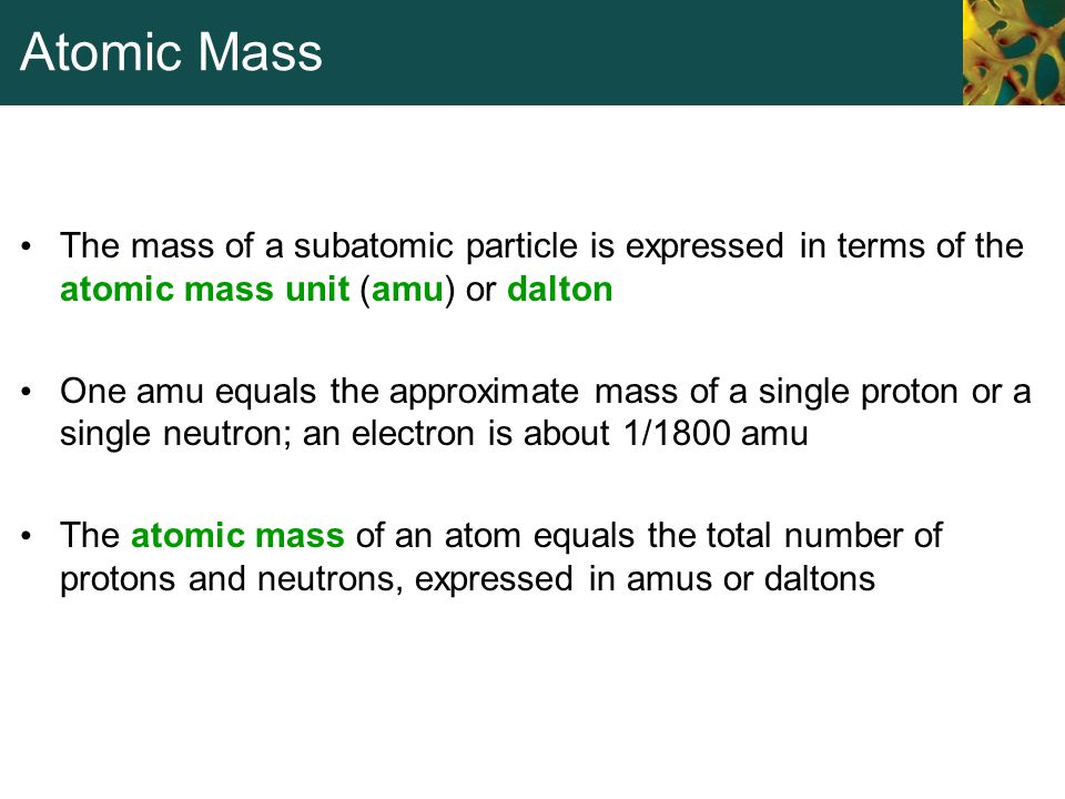 Atomic Mass The mass of a subatomic particle is expressed in terms of the atomic mass unit (amu) or dalton One amu equals the approximate mass of a si
