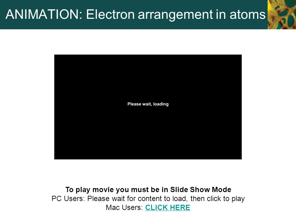 ANIMATION: Electron arrangement in atoms To play movie you must be in Slide Show Mode PC Users: Please wait for content to load, then click to play Ma