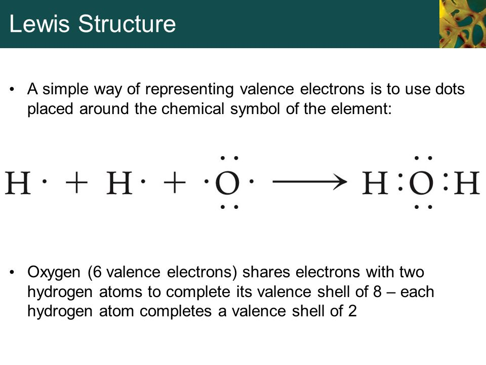 Lewis Structure A simple way of representing valence electrons is to use dots placed around the chemical symbol of the element: Oxygen (6 valence elec