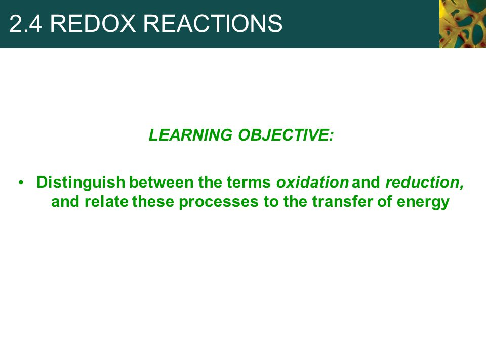 2.4 REDOX REACTIONS LEARNING OBJECTIVE: Distinguish between the terms oxidation and reduction, and relate these processes to the transfer of energy