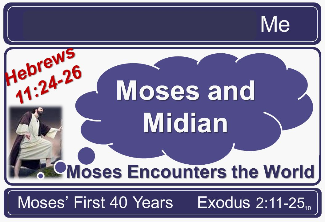 10 Hebrews 11:24-26 Moses Encounters the World The Life of Moses and Me Moses' First 40 YearsExodus 2:11-25 Moses and Midian