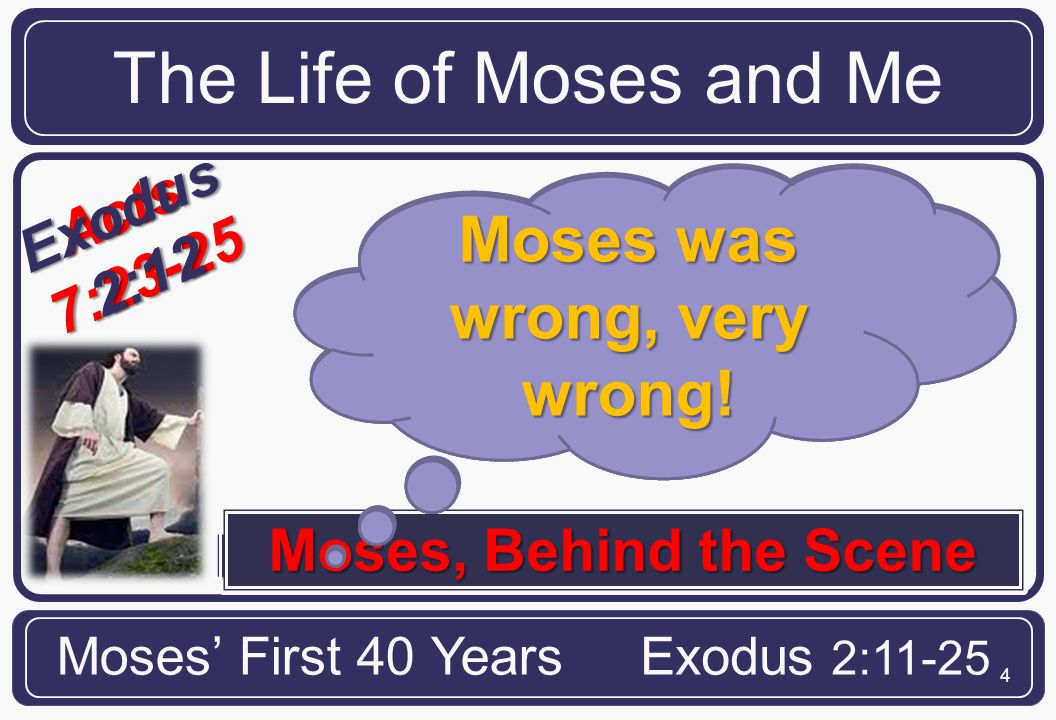 4 Moses Encounters the World The Life of Moses and Me Moses' First 40 YearsExodus 2:11-25 Acts7:23-25 And when he was full forty years old, it came into his heart to visit his brethren the children of Moses, Behind the Scene Israel.