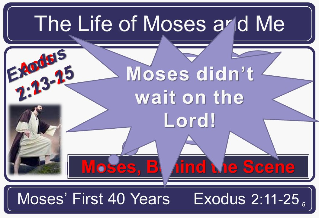 5 Acts7:23-25 Exodus 2:13-15 Moses Encounters the World The Life of Moses and Me Moses' First 40 YearsExodus 2:11-25 Moses, Behind the Scene Moses was wrong, very wrong.