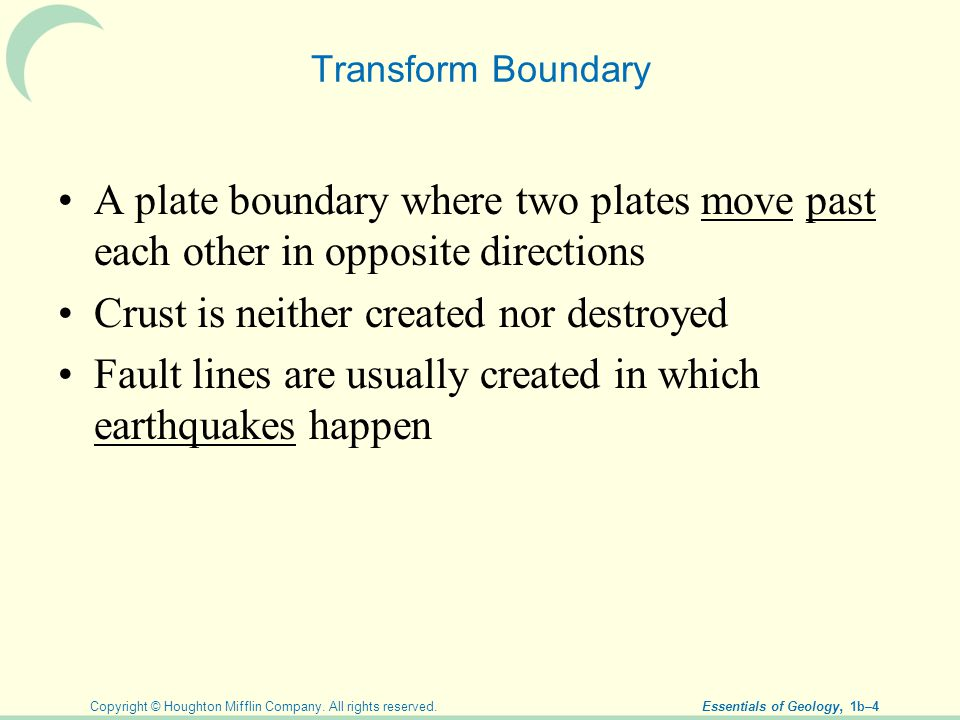 Copyright © Houghton Mifflin Company. All rights reserved. Essentials of Geology, 1b–4 Transform Boundary A plate boundary where two plates move past