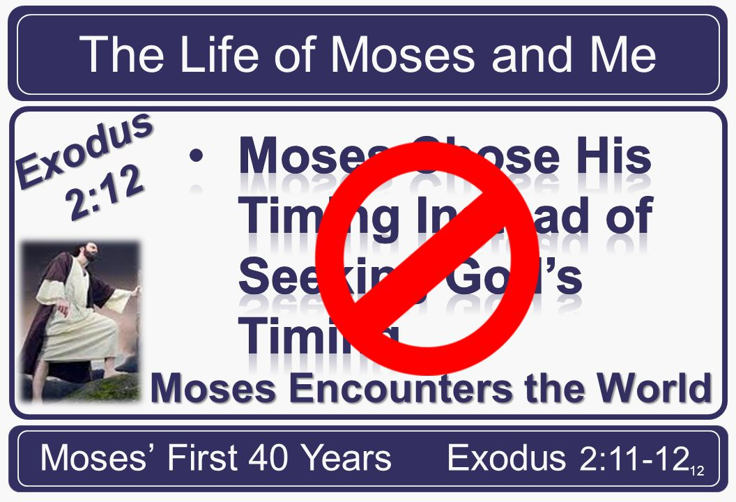 12 Moses Encounters the World The Life of Moses and Me Moses' First 40 YearsExodus 2:11-12 Exodus 2:12
